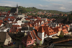 St Vitus Church over tiled roofs in Cesky Krumlov, Czech Republi Stock Photo
