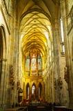 St. Vitus Katedralny wnętrze w Praga Obrazy Royalty Free