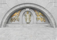 St. Vladimir and angels. The bas-relief on the site of the Baptism of Kievan Rus Royalty Free Stock Photo