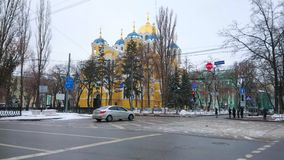St Vladimir Cathedral behind the road, Kiev, Ukraine stock footage