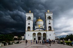 St. Vladimir cathedral before the storm. City of Bar, Montenegro royalty free stock photo
