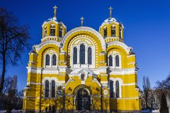 St. Vladimir`s Cathedral, Kiev, winter, Ukraine. St. Vladimir`s Cathedral, winter cloudless day, Kiev, Ukraine Royalty Free Stock Photography