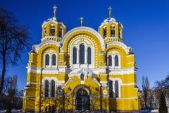 St. Vladimir`s Cathedral, winter, Kiev, Ukraine. St. Vladimir`s Cathedral against the cloudless sky, Kiev, winter, Ukraine stock photo