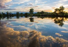 St Vrain Pond, Colorado Fotografie Stock