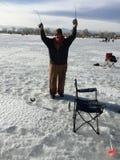 St Vrain State Park 9 d'événement de pêche de glace Photos stock
