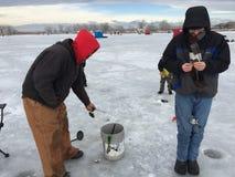 St Vrain State Park 7 d'événement de pêche de glace Photographie stock libre de droits