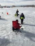St Vrain State Park 3 del evento de la pesca del hielo Imágenes de archivo libres de regalías