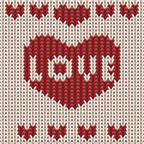St walentynek dnia trykotowy serce Dzianiny tekstury tło Obraz Royalty Free