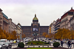 St Wenceslas Square en Praga Foto de archivo