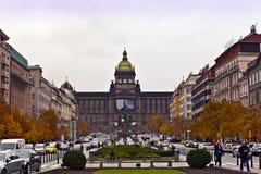 St Wenceslas Square i Prague Arkivfoto