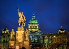 St Wenceslas Statue op Wenceslas Square, Praag stock fotografie