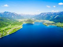 St. Wolfgang aerial view. Wolfgangsee lake and St. Wolfgang im Salzkammergut town aerial panoramic view in Austria Royalty Free Stock Photo