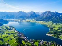St. Wolfgang aerial view. Wolfgangsee lake and St. Wolfgang im Salzkammergut town aerial panoramic view in Austria Royalty Free Stock Photography