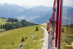 ST. WOLFGANG, AUSTRIA: Diesel train railway going to Schafberg Peak (1783m) in St. Wolfgang. Stock Image