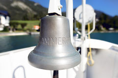 ST. WOLFGANG, AUSTRIA - OCTOBER 1, 2015 - Bell of the boat that read Salzkammergut, Austria. Stock Images