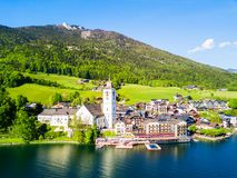 St. Wolfgang aerial view. St. Wolfgang catholic church or Pfarrkirchen Wallfahrtskirche aerial panoramic view in St. Wolfgang im Salzkammergut at Wolfgangsee Royalty Free Stock Photos