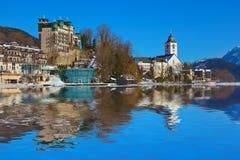 St Wolfgang del villaggio sul lago Wolfgangsee - Austria Immagine Stock Libera da Diritti