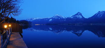 St. Wolfgangsee in Austria at night Royalty Free Stock Photo