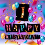 1st year Anniversary Celebration Design. With balloons and gift box, Colorful design elements for banner and invitation card Stock Photos