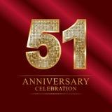 51st years anniversary logotype disco style. 51 years anniversary celebration logotype red background. Anniversary disco style stock illustration
