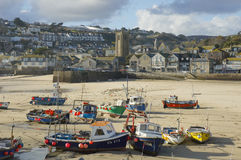 St Yves. Boats with low tide in St Yves, Cornwall, United Kingdom stock images
