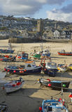 St Yves. Boats with low tide in St Yves, Cornwall, United Kingdom royalty free stock photo