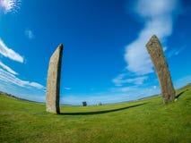Stać kamienie Stenness, Orkney, Szkocja neolityczny fotografia stock