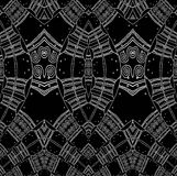 Stały bywalec spiral wzór z wiggly liniami białymi na czerni Obraz Stock