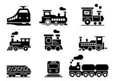Stały ikona pociągu set royalty ilustracja