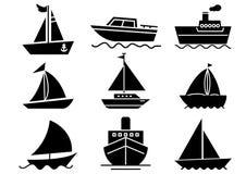 Stały ikony łodzi set ilustracja wektor