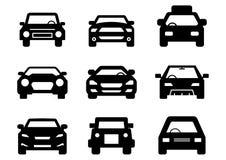 Stałych ikon samochodu przodu Czarny set royalty ilustracja