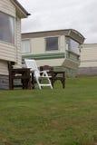 Sta-caravan in Pembrokeshire Stock Foto's