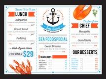 Sta menu szablonu Karmowy Restauracyjny projekt ilustracja wektor