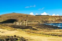 Stać Moai przy Ahu Tongariki Fotografia Stock