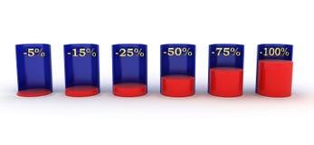 Staaf graph Rood en blauw negatieve rente stock illustratie