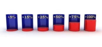Staaf graph Rood en blauw plus rente stock illustratie