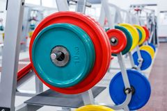 Staaf met gewichten in de gymnastiek Stock Fotografie