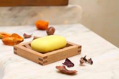 Staaf van natuurlijke zeep in badkamers - binnenlands detail Royalty-vrije Stock Fotografie