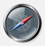 Staal gedetailleerd kompas over grijze achtergrond Stock Afbeeldingen