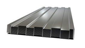 Staal geprofileerde die bladen in stapel worden gestapeld Verkoop van staalassortiment het 3d teruggeven stock illustratie