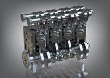 Staal interne verbrandingsmotor op grijs Royalty-vrije Stock Afbeeldingen