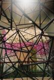 Staal Skeletachtig ontwerp en mooie Kleurrijke bloemen Bangkok, Thailand - September 28, 2013 8, Stock Afbeelding