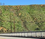 staalbrug bij de uitlopers van bergen met platte kop stock fotografie