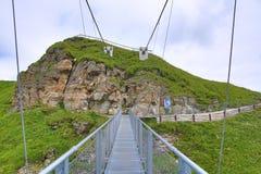 Staalbrug, de Manier van Stubnerkogel, Slechte Gastein, Kabelbaan, Oostenrijk Stock Foto's
