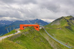 Staalbrug, de Manier van Stubnerkogel, Slechte Gastein, Kabelbaan, Oostenrijk Stock Foto