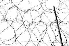 Staalbundels van gerold prikkeldraad op de omheining van de gevangenis tegen de grijze hemel royalty-vrije stock fotografie