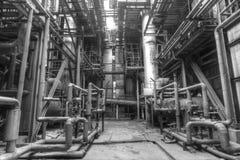 Staalfabriek met pijpen en kleppen Royalty-vrije Stock Foto