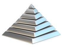 Staalpiramide met zeven geroteerde 3D niveaus Royalty-vrije Stock Afbeelding