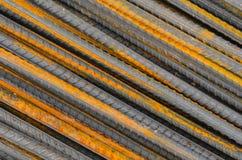 Staalstaven of bars worden gebruikt om beton te versterken dat, stock fotografie