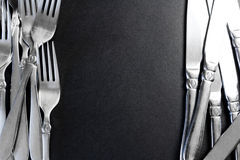 Staalvork op een zwarte achtergrond Royalty-vrije Stock Fotografie